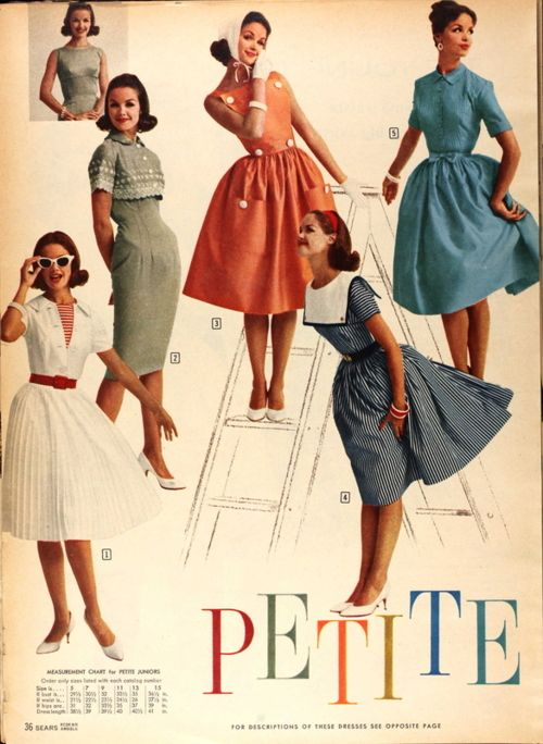 I love all these! Especially the girl in the blue w/ the white front flap standing on the 'T'. :) #1950s