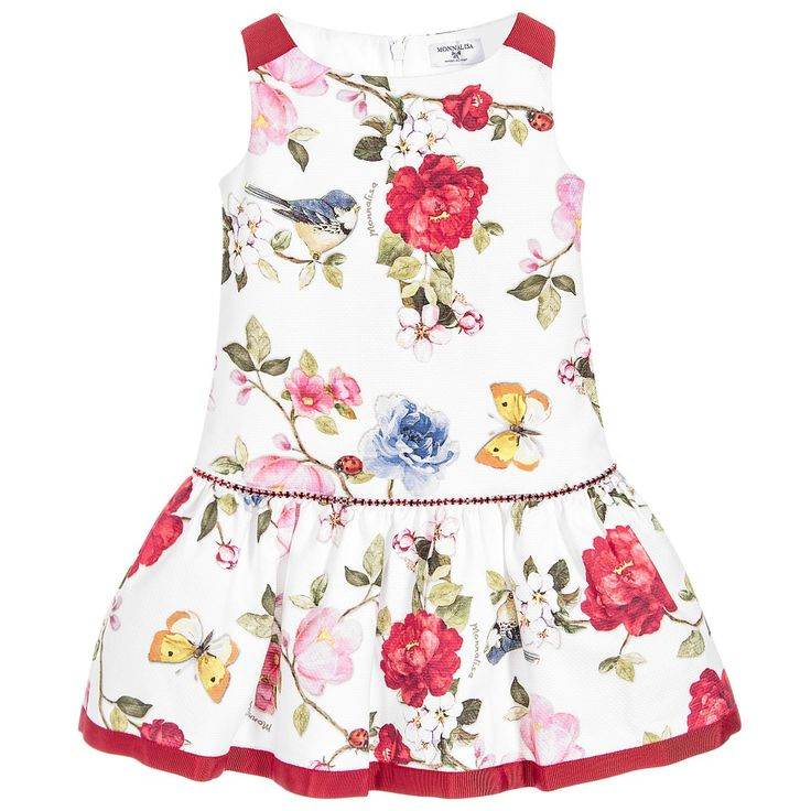 Monnalisa Bimba - Girls White Cotton Floral Dress | Childrensalon