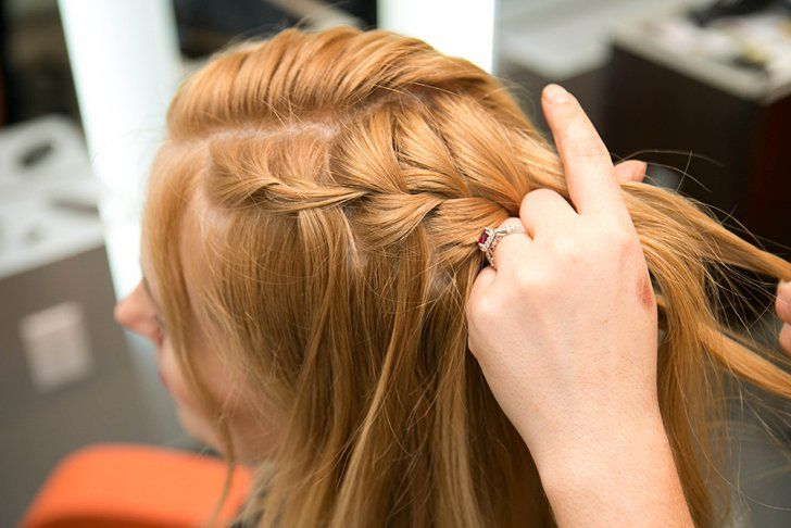 Pin for Later: DIY This Daenerys-Inspired Waterfall Braid For Your Next Music Festival Step 9 Repeat the waterfall braid on the other side of the head.  Photos by Caroline Voagen Nelson