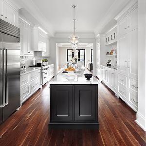 The Design Company - kitchens - long kitchens, long kitchen ideas, black and white kitchens, perimeter cabinets, white kitchen cabinets, sha...
