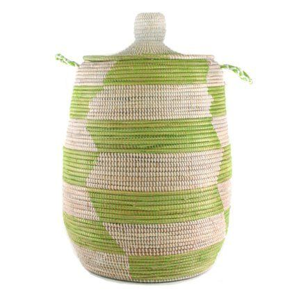 """Woven African Laundry Clothes Hamper - Green - Large - Fair Trade by Connected Fair Trade Products. $175.00. lidded top, wipe clean, handles allow for easy portability. size: aprox 16"""" d x 26-28"""" t. woven of plastic strips and millet grass. may have slight variations in design and size as this is a one-of-a-kind handmade product. handmade by fair trade artisans. This beautiful African hamper is irresistible whether it's doing it's job as a laundry hamper, used ..."""