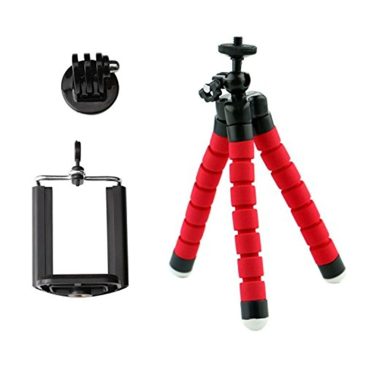 Mini Phone Tripod, CAM-ULATA Universal Flexible Lightweight Octopus Style Tripod Stand Holder with Adapter and Phone Clip Clamp for Smartphone Action Digital Camera Camcorder Red - Brought to you by Avarsha.com