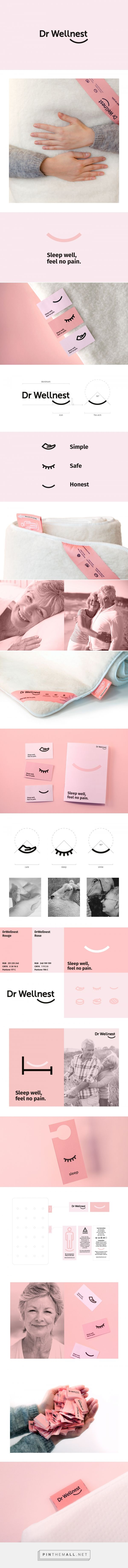 DrWellnest — Magnetic Matresses from Norway on Behance. Branding, brand identity, pink, minimal, visual identity