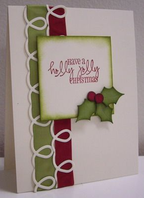 Make this unique ribbon border by cutting the curly cue border from a die-cut and weaving the ribbon through its loops.  Sponging a dark green around the edges of the holly leaves brings them to life on this handmade Christmas card.