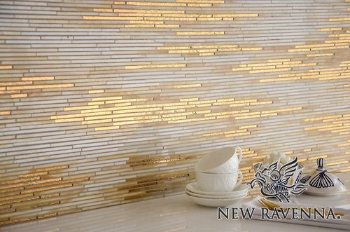 Reve, a handmade mosaic shown in 24K Gold Glass and Agate and Quartz Jewel Glass, is part of the Aurora Collection by Sara Baldwin for New Ravenna.