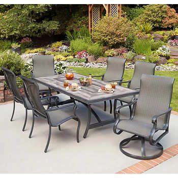 Eldorado 7 Piece Woven Patio Dining Set In 2020 Costco Patio Furniture Patio Dining Set Stationary Chairs