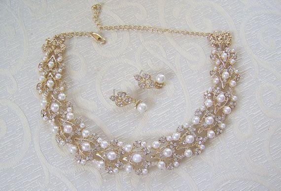 Wedding Bridal Austrian Crystal and Pearl set
