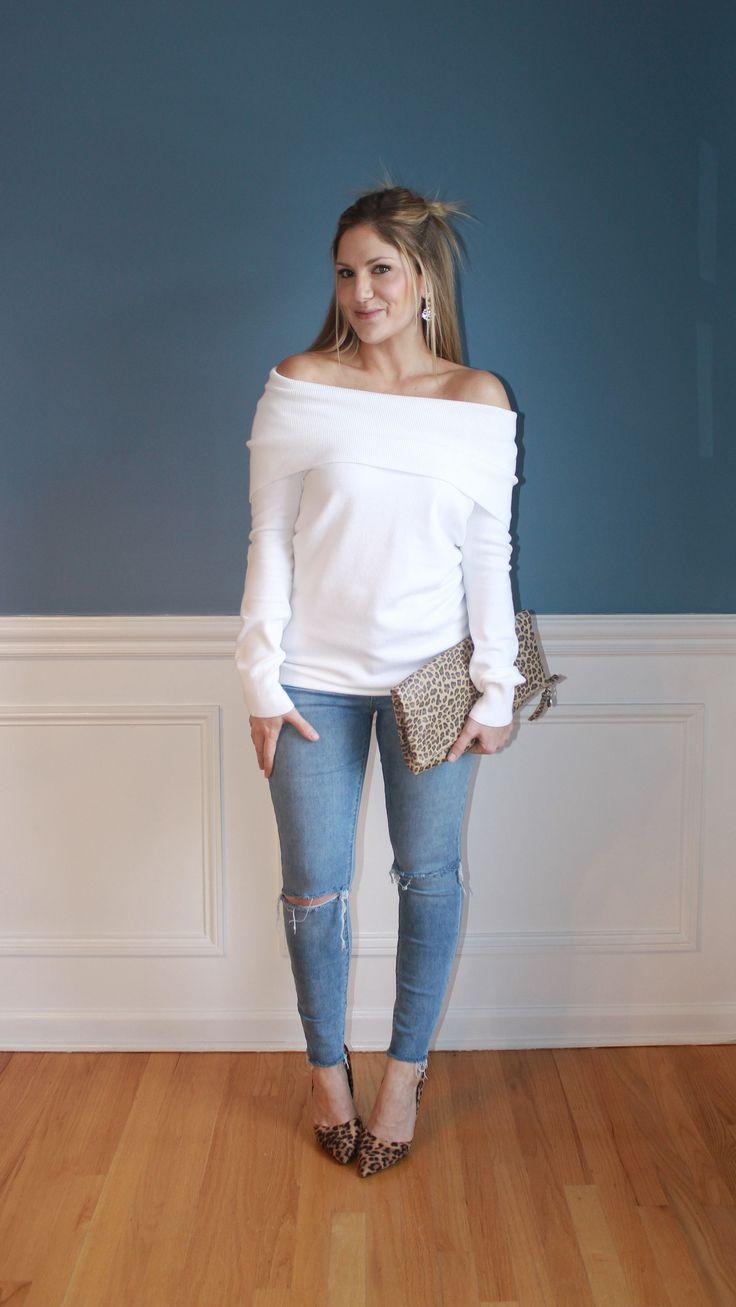 off-the-shoulder sweater, distressed denim, leopard print clutch, leopard print heels, winter fashion