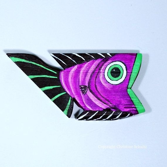 Painted Wood Fish Purple Folk Art by TaylorArts on Etsy, $55.00