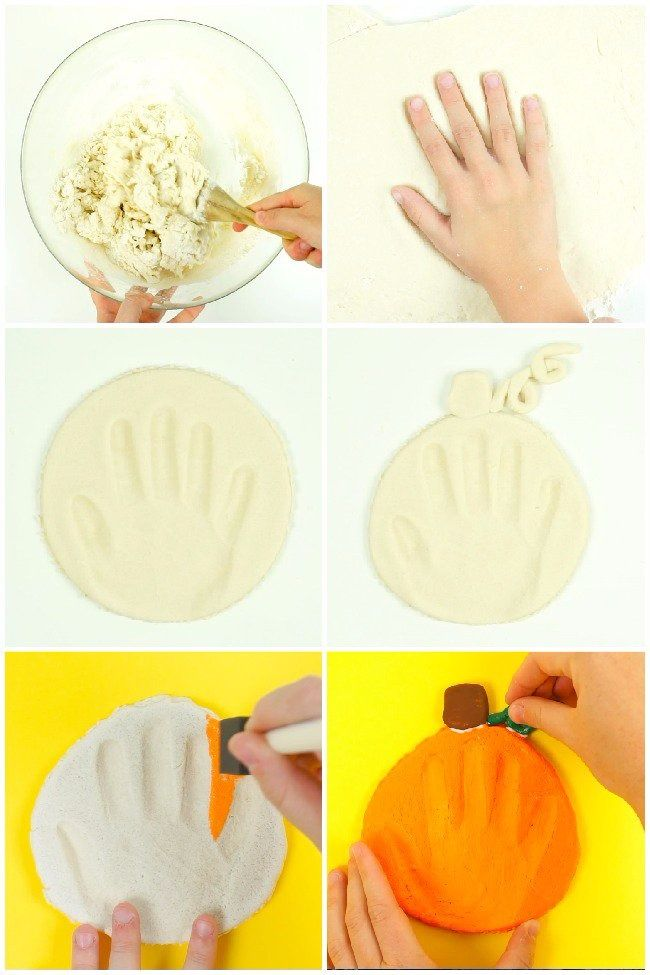 Make this salt dough pumpkin handprint keepsake wi…