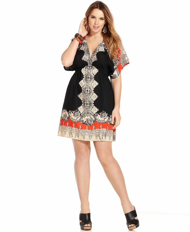 Angie Plus Size Short-Sleeve Printed Empire Dress - Plus Size Dresses - Plus Sizes - Macy's