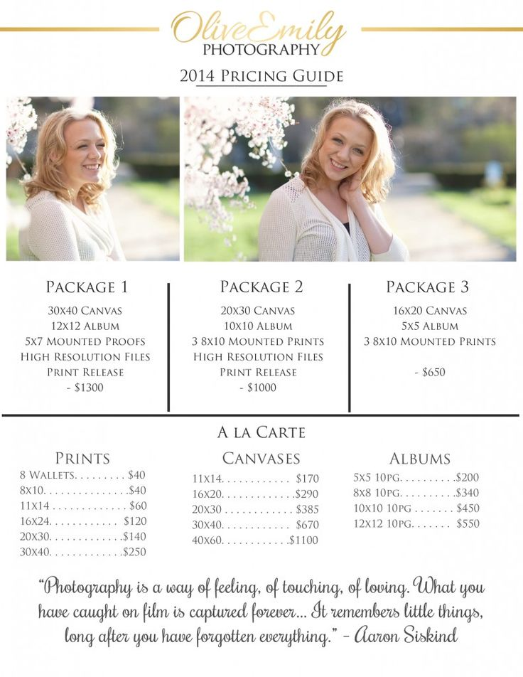 Free Pricing Guide for photographers