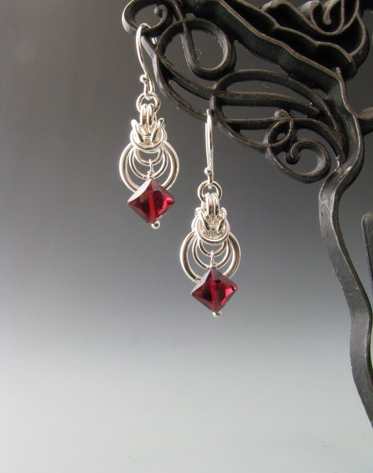 Byzantine Ripple Chain Maille Earrings with Garnet. $22.00, via Etsy.