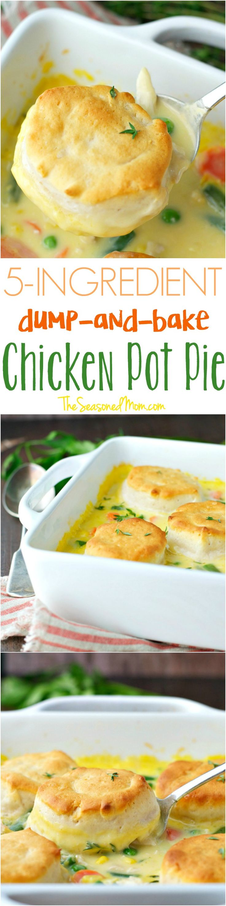 You only need 5 ingredients and 5 minutes to make this Dump-and-Bake Chicken Pot Pie Recipe! It's an easy, family-friendly dinner that's perfect for busy weeknights!