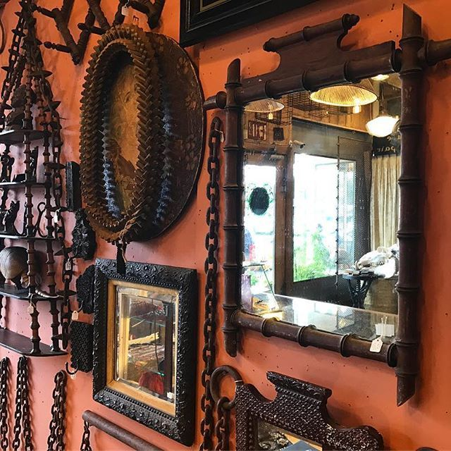 @van.harrison and @coonsharp whipped up a new display this morning using a collection of interesting old chains, spool shelfs, and  funky mirrors. Come have a look!