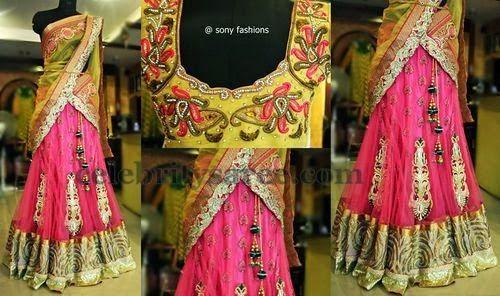 Baby Pink Crushed Half Saree | Saree Blouse Patterns