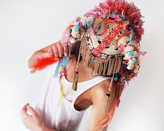 White tribal crochet UTHA hat... colorful and cool ..shaman style hat with horns