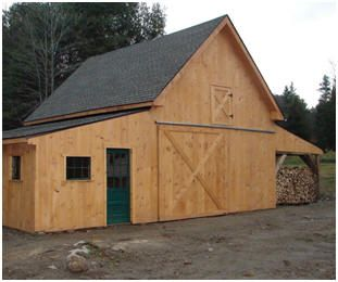 The applewood pole barn with a custom wood shed read more for Wooden garage plans