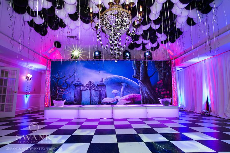 Planned, Designed & Produced by www.swankproductions.com Ballroom  #party #swank #batmitzvah #socialparty #event #creative #inspiration #decor #beautiful #alice #wonderland #balloon #colors #black #white #light #floor #ball #room