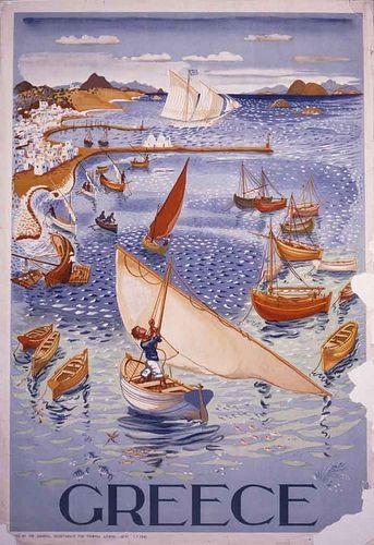 Vintage travel poster of Greece designed by S. Vassiliou, 1947 #kitsakis
