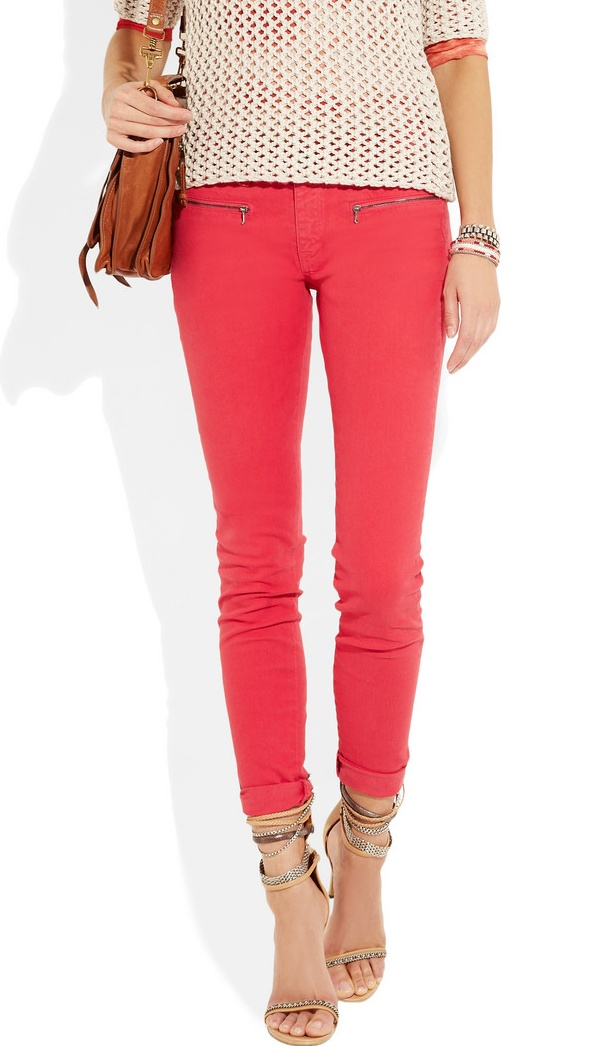 Coral pink skinny jeans