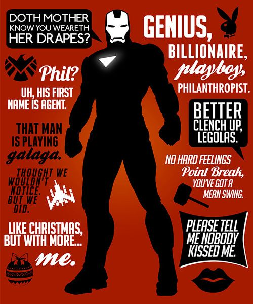 """Iron Man quotes from Avengers. They left out, """"and I'm a huge fan of how you turn into a green rage monster."""""""