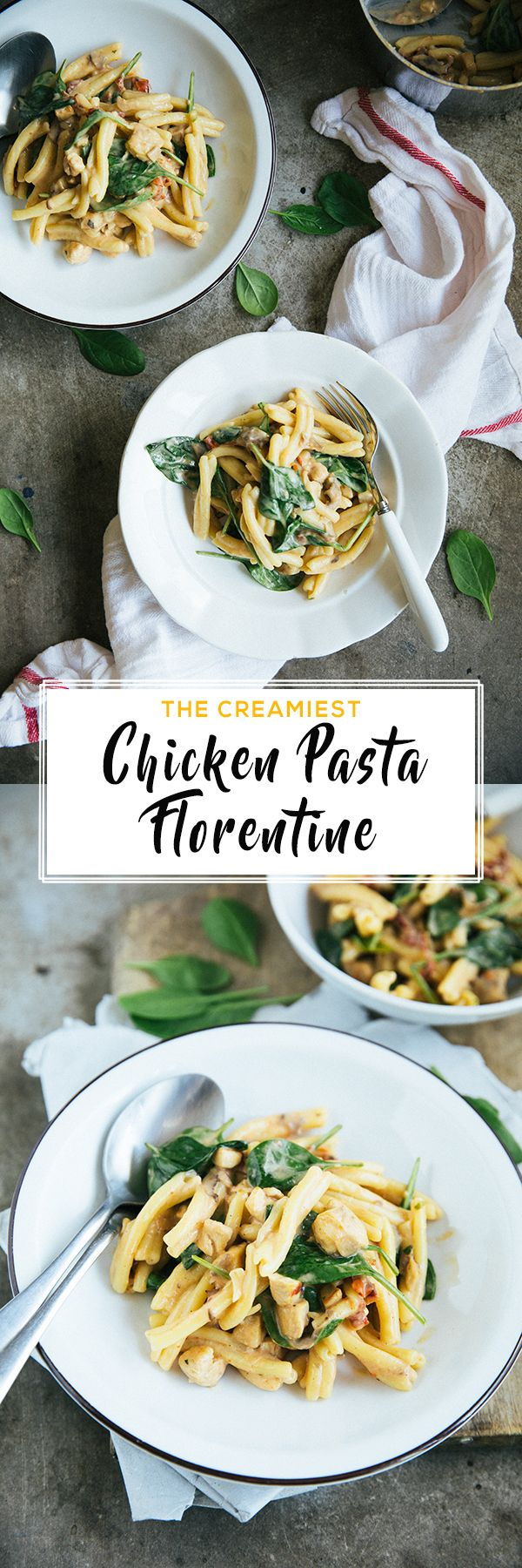 Super creamy Chicken Pasta Florentine. Yup, Creamy Chicken Pasta with baby spinach, homemade sun - dried tomatoes and lemon juice. The perfectly balanced pasta, made in less than 30 minutes.