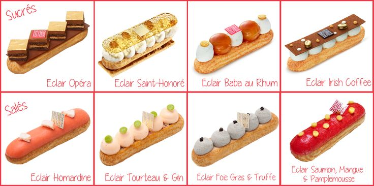 "It's éclair week in Paris Fauchon! From 11-19 September 2015 they have 36 varieties (sweet and savoury, including 2 new flavours: the Rum Baba and an Opéra eclair (I have an Opéra éclair in my new book, ""Teatime in Paris!"" Just saying ...)"