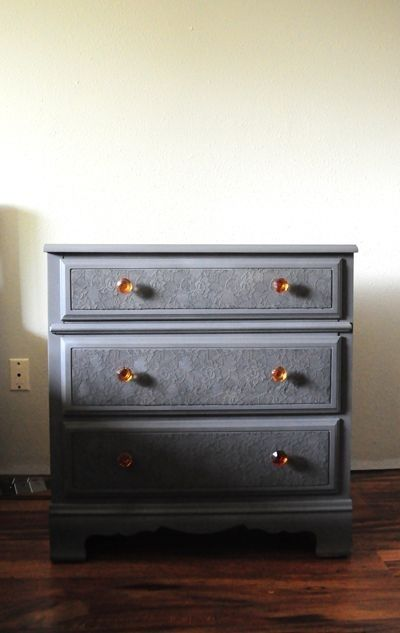 Use lace to re-cover the drawers | 99 Clever Ways To Transform A Boring Dresser
