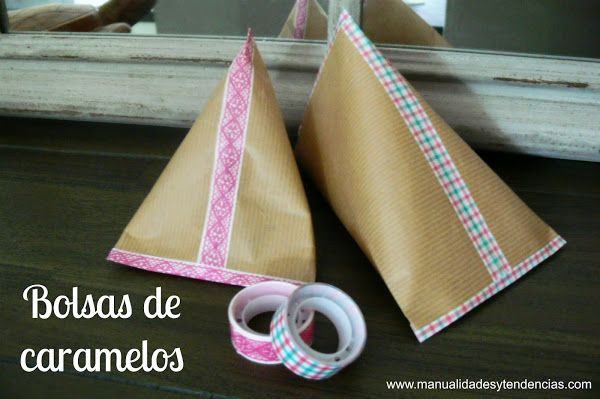 Bolsas de caramelos de papel kraft / Candy bag | Aprender manualidades es facilisimo.com