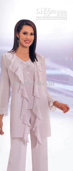 Wholesale - Buy Mother of the Bride Pant Suits Hot Sale Elegant Chiffon Pleat Applique Long Sleeves Sequins Mother Of the Bride Pant Suits w...
