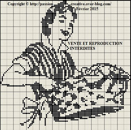 0 point de croix monochrome femme et panier de linge - cross stitch woman with a basket full of clothes
