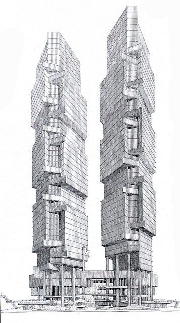 Paul Rudolph Sketching Hong Kong Bond Centre Architects Sketch Sketches Architecture