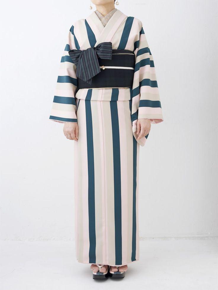 kimono, モードストライプ 着物・桜桃 | DOUBLE MAISON