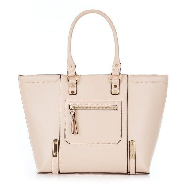 New Look Stone Structured Tote Bag ($37) ❤ liked on Polyvore featuring bags, handbags, tote bags, new look, totes, tote purses, pink handbags, handbag tote, tote handbags and tote bag purse