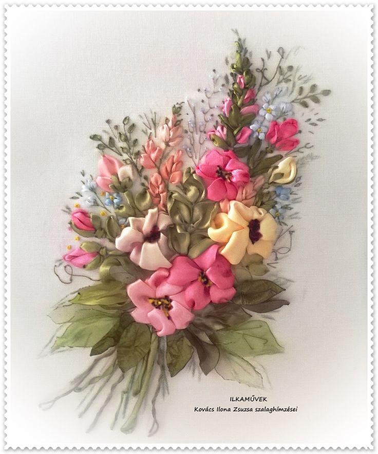 Szalaghímzés. Falikép.Virágcsokor.