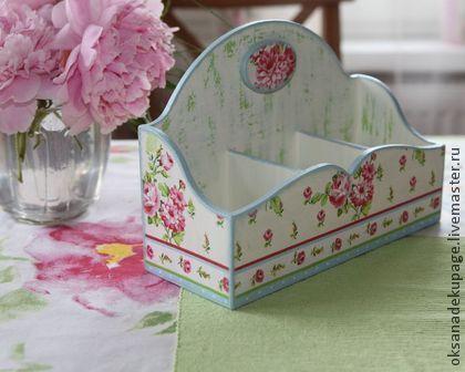 """Коробочка для чайных пакетиков """"Розочки"""" - голубой,чайная шкатулка,чайный короб"""