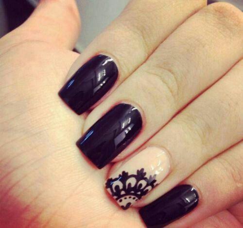 Black lace nail design
