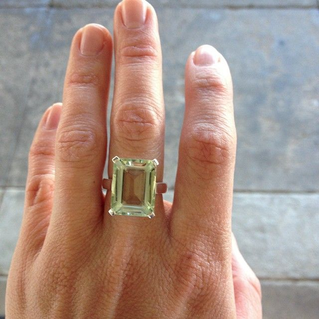 Green quartz & sterling silver, just finished... a gorgeous cocktail ring!