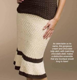 Crochet Tulip skirt pattern. Encased elastic waistband.
