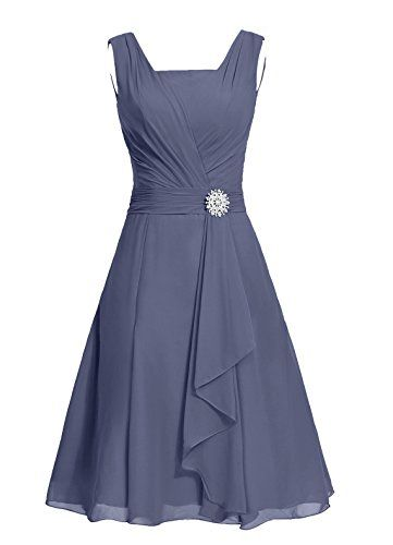 Dresstells® Short Bridesmaid Dress Square Chiffon Mother Party Dress with Sash