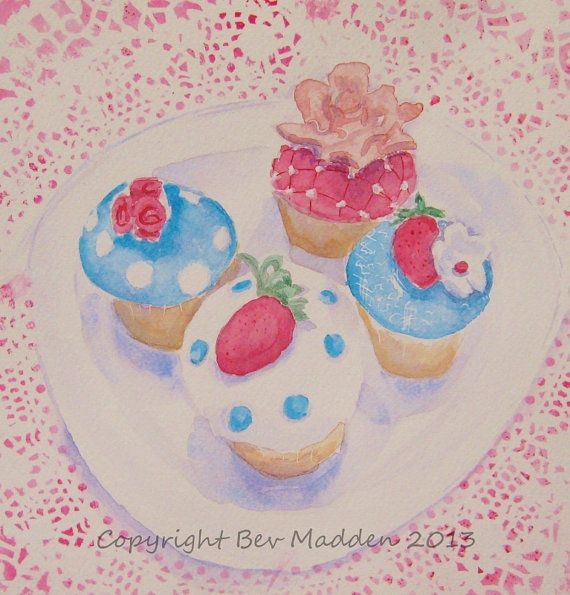 Vintage Cupcake watercolour print 11 square by mrsmaddenmakes, £20.00