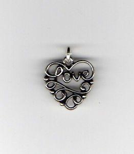 925-Sterling-Silver-LOVE-HEART-CHARM-Word-Script-Swirl-Pendant-NEW-925-HR04
