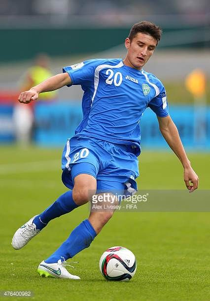Dostonbek Tursunov of Uzbekistan controls the ball during the FIFA U20 World Cup Group F match between Fiji and Uzbekistan at the Northland Events...