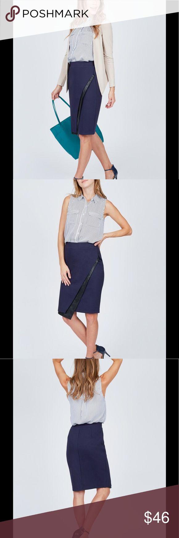 Noir Asymmetrical PU Skirt Stretchy Navy Pencil Skirt with faux leather Asymmetrical detail. Used once noir Skirts Asymmetrical