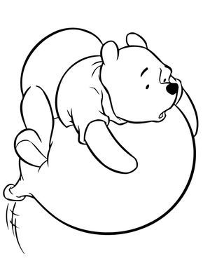 Winnie The Pooh On Flying Balloon Coloring Page | HM Coloring Pages