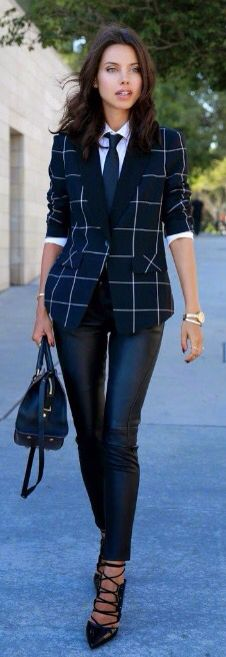 Adorable outfit....perfect for work.blazer,shirt and tie,skinny black pants and heels.love it.a women can wear a suit better than a man