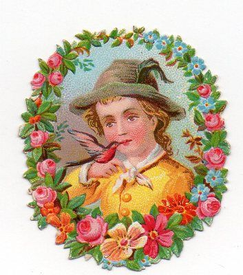 Chromo Decoupi DIE CUT Oblaten Enfant Oiseau Kind UND Vogel Child AND Bird: