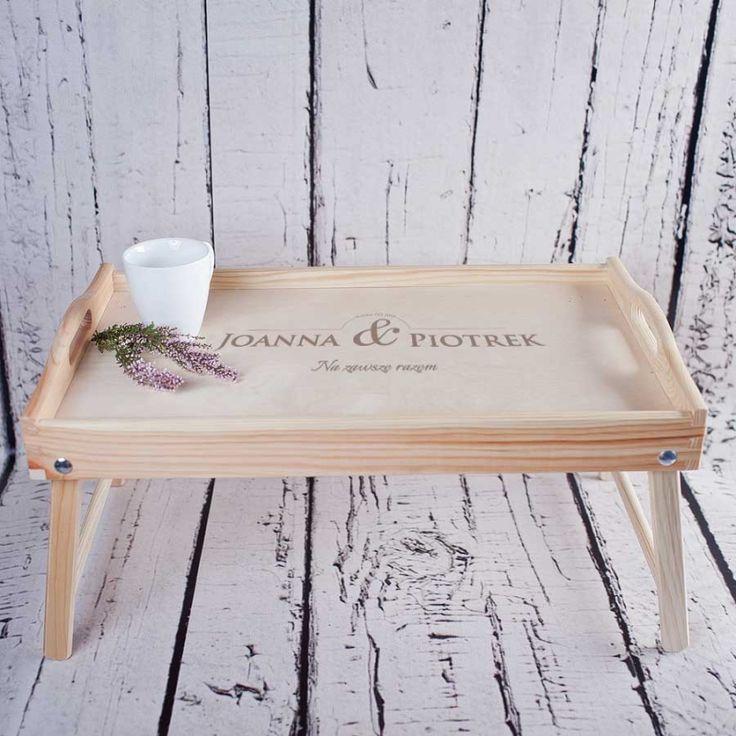 Personalizowany stolik śniadaniowy NA ZAWSZE RAZEM / - sklep Crazyshop