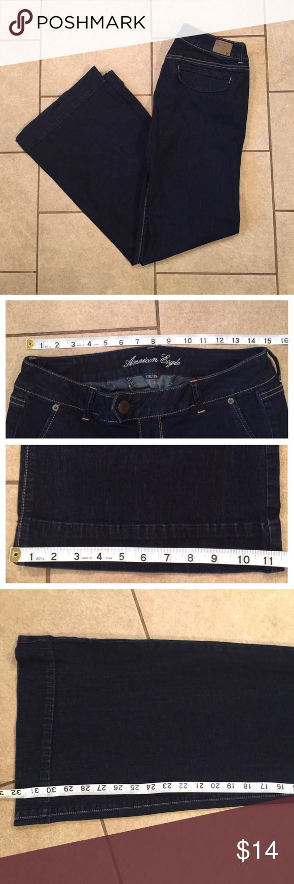 American Eagle Stretch Trouser Jeans 10 Regular Measurements as shown, fabric content is 98% cotton, 2% spandex. American Eagle Outfitters Jeans Flare & Wide Leg